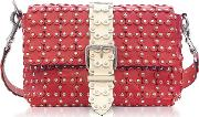Strawberryivory Studded Leather Puzzle Shoulder Bag