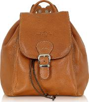 Camel Italian Leather Backpack