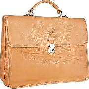 Robe Di Firenze Briefcases, Men's Sand Double Gusset Soft Leather Briefcase