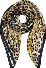 Animal Print And Stars Pure Silk Square Scarf