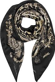Natural Black Pattern And Leopard Print Silk Square Scarf