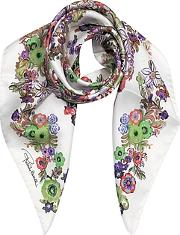 Pink Multi Peafowls And Flowers Print Silk Square Scarf