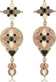 Gold Tone And Enamel Wmulticolor Crystals Long Earrings