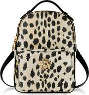 Animal Printed Leather Small Backpack