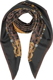 Animal And Jewelry Print Pure Silk Square Scarf