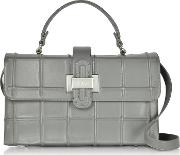Fog Gray Leather Top Handle Satchel Bag Wshoulder Strap