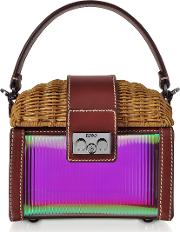 Natural Wicker And Leather Mini Bag