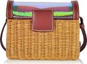 Natural Wicker And Leather Mini Shoulder Bag
