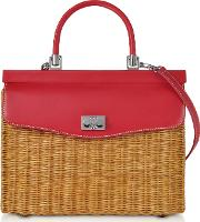 Natural Wicker And Leather Top Handle Bag