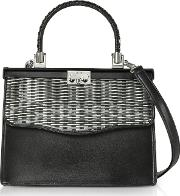 Silver And Black Woven Leather Top Handle Satchel Bag