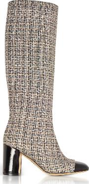 Tweed And Black Patent Leather Heel Boots