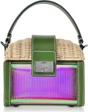 Whitewashed Wicker And Leather Mini Bag