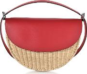 Woven Wicker And Leather Half Moon Shoulder Bag