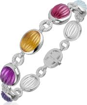 Carved Gemstone Links 18k Gold & Diamond Bracelet