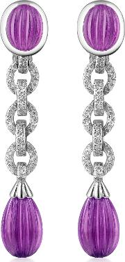 Roma Imperiale Earrings, Carved Gemstone 18k Gold And Diamond Drop Earrings