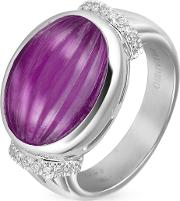 Carved Amethyst And Diamond 18k Gold Ring
