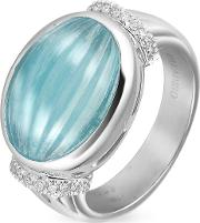 Carved Aquamarine And Diamond 18k Gold Ring