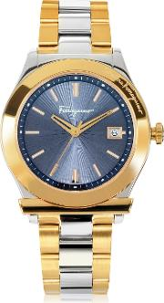 Ferragamo 1898 Gold Ip And Silver Tone Stainless Steel Men's Watch