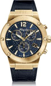 F 80 Gold Ip Stainless Steel Men's Chronograph Watch Wblue Croco Embossed And Black Rubber Strap