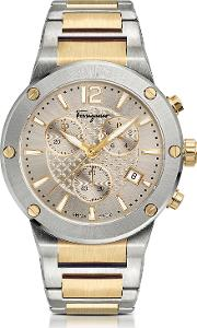 F 80 Silver Stainless Steel And Gold Ip Men's Chronograph Watch Wsilver Guilloche' Dial
