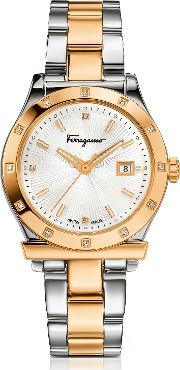 Ferragamo 1898 Gold Ip And Stainless Steel Men's Watch