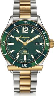 Ferragamo 1898 Sport Gold Ip And Stainless Steel Men's Bracelet Watch Wgreen Aluminum Rotating Bezel