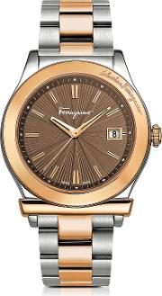 Ferragamo 1898 Sport Rose Gold Ip And Stainless Steel Men's Bracelet Watch Wbrown Dial