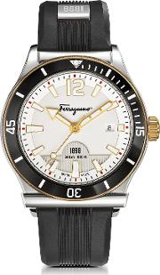 Salvatore Ferragamo Men's Watches, Ferragamo 1898 Sport Stainless Steel Men's Watch Wblack Rubber Strap