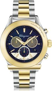 Ferragamo 1898 Stainless Steel And Gold Ip Men's Chronograph Watch Wblue Dial