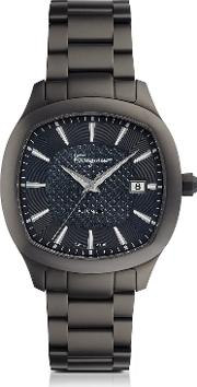 Ferragamo Time Gun Ip Stainless Steel Men's Automatic Watch Wblue Guilloche' Dial
