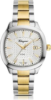 Salvatore Ferragamo Men's Watches, Ferragamo Time Silver Stainless Steel And Gold Ip Men's Automatic Watch Wsilver Guilloche' Dial