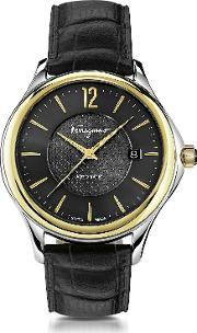 Salvatore Ferragamo Men's Watches, Ferragamo Time Stainless Steel And Gold Ip Men's Automatic Watch Wblack Croco Embossed Strap