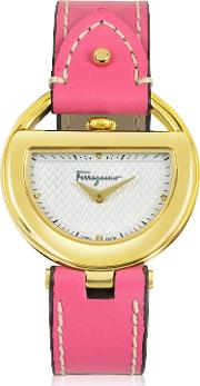 Salvatore Ferragamo Women's Watches, Buckle Collection Gold Ip Stainless Steel Case And Fuchsia Leather Strap Women's Watch