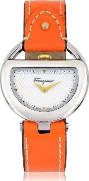 Salvatore Ferragamo Women's Watches, Buckle Collection Silver Tone Stainless Steel Case And Orange Leather Strap Women's Watch