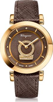 Salvatore Ferragamo Women's Watches, Minuetto Gold Ip Stainless Steel Case And Brown Saffiano Leather Strap Women's Watch Wdiamonds