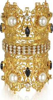 Golden Brass Double Crown Cuff Bracelet