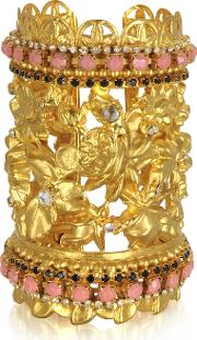 Golden Brass Wtriple Crystals Blossom Cuff Bracelet
