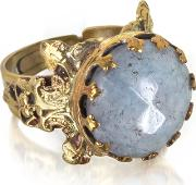 Polished Brass And Faceted Celestina Round Cabochon Florence Ring
