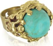 Polished Brass And Turquoise Round Cabochon Florence Ring