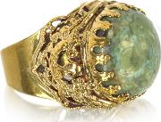 Polished Brass Wgreen Jade Round Cabochon The Medici Ring