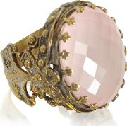 Polished Brass Woval Faceted Pink Quartz The Medici Ring