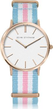 Sean Statham Women's Watches, Rose Goldtone Stainless Steel Unisex Quartz Watch Wlight Blue And Pink Striped Canvas Band