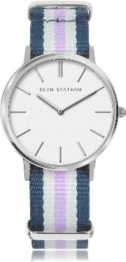 Stainless Steel Unisex Quartz Watch Wblue And Violet Striped Canvas Band
