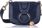 Hana Ultramarine Leather & Suede Small Crossbody Bag