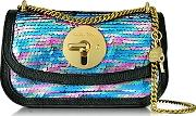 Lois Shadow Blue Sequins And Leather Mini Shoulder Bag