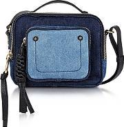Patti Denim And Black Leather Crossbody Bag