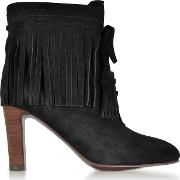 Black Suede Fringed High Heels Booties