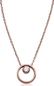 Elin Rose Gold Tone Crystal Circle Necklace
