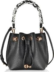 Black Leather Romy Mini Bucket Bag