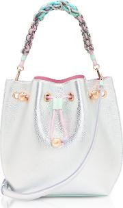 Silver & Pastel Metallic Leather Romy Mini Bucket Bag